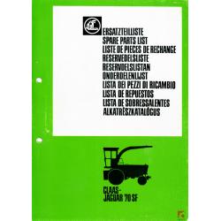 Katalog części do sieczkarni samobieżnej Claas- Jaguar 70 SF