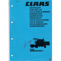 Katalog części zamiennych do kombajnów Claas Dominator 68/68 S